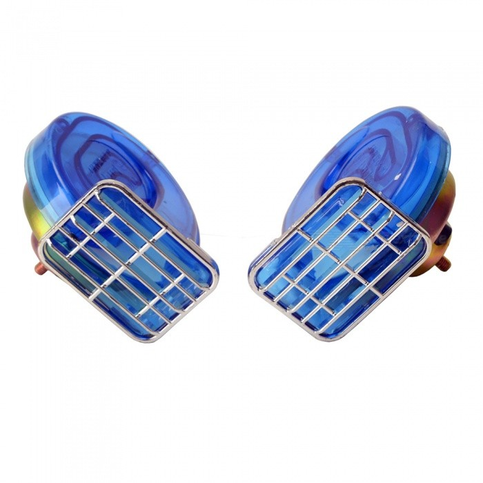 Portable Mini 12V 110db Dustproof Waterproof Car Klaxon Horn - Blue (2 PCS)Other Gadgets<br>Form  ColorBlueModelN/AQuantity2 DX.PCM.Model.AttributeModel.UnitMaterialPlasticShade Of ColorBlueCurrent4 DX.PCM.Model.AttributeModel.UnitPower Supply12VPacking List2 x Car horns<br>