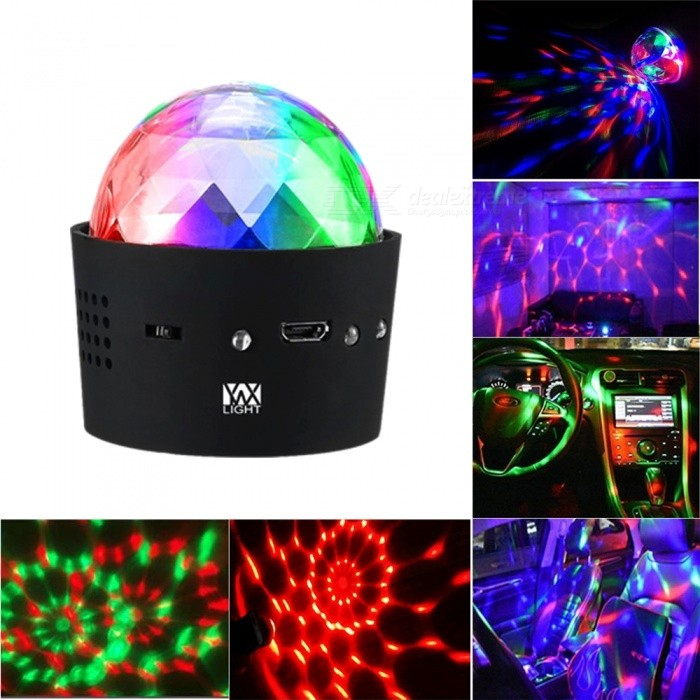 YWXLight 3W Mini Portable Music Sound Control RGB Multi-Color Stage LightStage Lights<br>Form  ColorRGBMaterialPCQuantity1 DX.PCM.Model.AttributeModel.UnitShade Of ColorMulti-colorPattern TypeOthersOutput ModeDC 5VTotal Power3 DX.PCM.Model.AttributeModel.UnitPower AdapterOthers,USBPowered ByUSBPacking List1 x YWXLight Stage light1 x YWXLight USB Line<br>