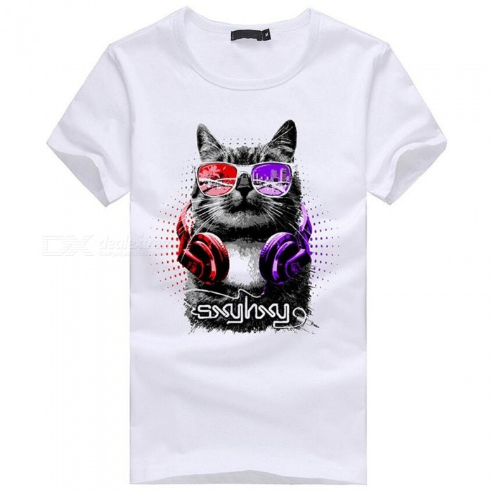 Buy 3D Cat Pattern Fashion Personality Casual Cotton Short-Sleeved Men's T-shirt - White (L) with Litecoins with Free Shipping on Gipsybee.com