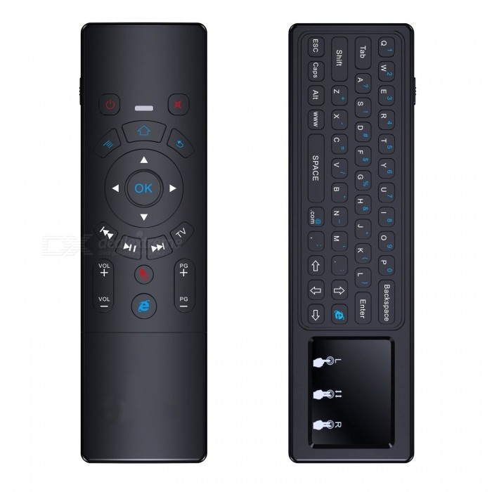 BLCR Mini Wireless Keyboard with 2.4GHz Touchpad Air Remote MouseWireless Keyboards<br>Form  ColorBlackModelT6-AMaterialSilicon keys+Plastic ShellQuantity1 DX.PCM.Model.AttributeModel.UnitInterfaceUSB 2.0Wireless or Wired2.4G WirelessBluetooth VersionNoCompatible BrandOthers,PC, Pad, Android Smart TV Box (MXQ pro T95m M8s gbox m9c etc), Xbox 360, PS3, HTPC/IPTV, Smart Phone (OTG), Notebook etc.Tracking MethodTouch PadBack-litNoPowered ByBuilt-in BatteryBattery included or notYesCharging Time4 DX.PCM.Model.AttributeModel.UnitWaterproofNoSupports SystemOthers,Google/ Android OS, Linux OS, Windows all supported.Packing List1 x Keyboard touchpad remote 1 x USB wireless receiver 1 x Recharge cable1 x User Manual<br>