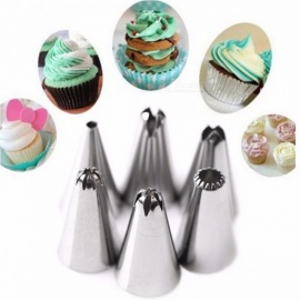 FHEAL Silicone Icing Piping Cream Pastry Bag with 6Pcs Stainless Steel Nozzle Set, Bakeware Cake DIY Decorating Baking Tool 6 Pcs