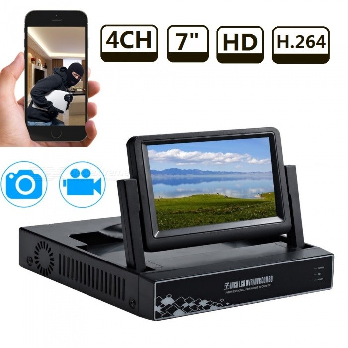 STRONGSHINE HD 720P/960P/1080P 4 Channel HDMI P2P CCTV Video Surveillance AHD DVR NVR w/ Built-in 7 Inch LCD Screen - US Plug