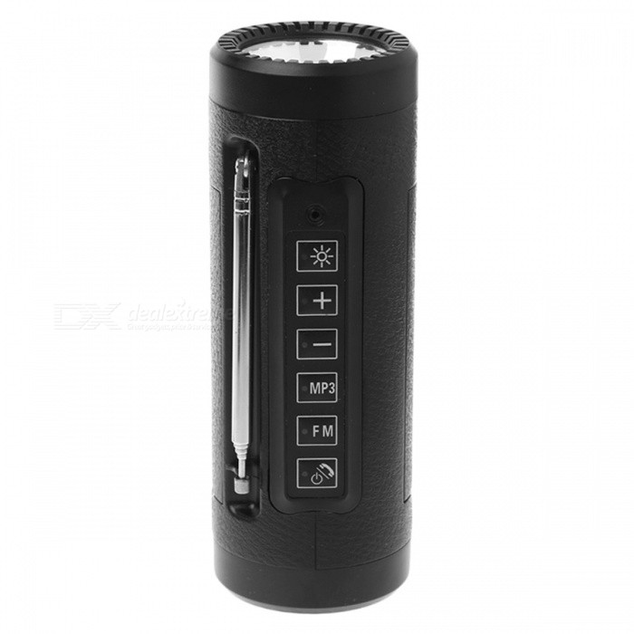 P-TOP3W 5V Bluetooth Speaker LED Flashlight with Microphone, FM Radio, Power Bank, Built-in TF Card Slot - Black