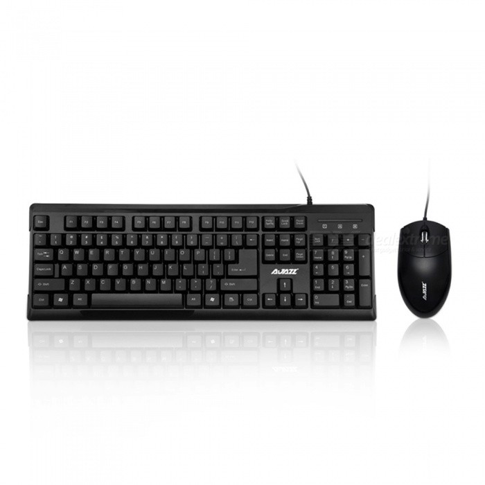 AJAZZ X1080 Waterproof Keyboard + Mouse Set for Home / Office - BlackGaming Keyboards<br>Form  ColorBlackModelX1080MaterialPlasticQuantity1 DX.PCM.Model.AttributeModel.UnitInterfaceUSB 3.0,USB 2.0Wireless or WiredWiredBluetooth VersionNoCompatible BrandAPPLE,Dell,HP,Toshiba,Acer,Lenovo,Samsung,MSI,Sony,IBM,Asus,Thinkpad,Huawei,GoogleAxis104Tracking MethodTouch PadBack-litNoPowered ByUSBBattery included or notNoCharging Time0 DX.PCM.Model.AttributeModel.UnitWaterproofYesTypeGaming,ErgonomicSupports SystemWin xp,Win 2000,Win 2008,Win vista,Win7 32,Win7 64,Win8 32,Win8 64Packing List1 x Keyboard1 x Mouse1 x Instruction<br>