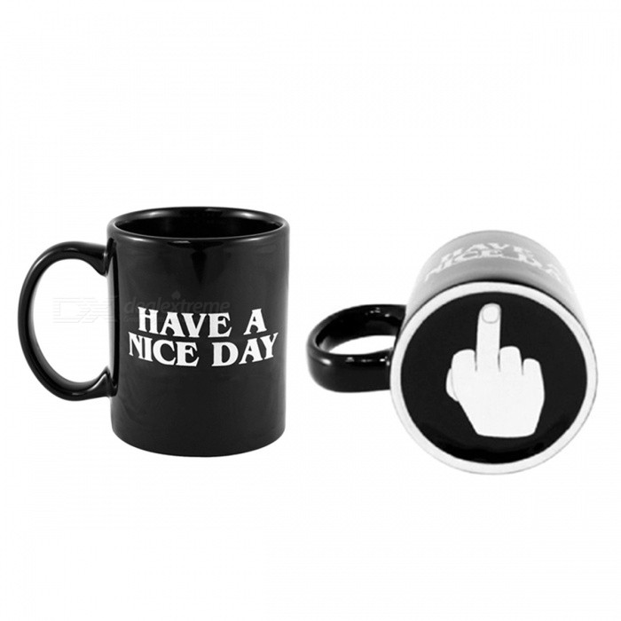 Buy Transhome Creative Have a Nice Day Coffee Mug, 350ML Funny Middle Finger Cup for Coffee Tea Milk, Novelty Birthday Gift Black with Litecoins with Free Shipping on Gipsybee.com
