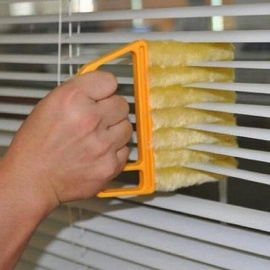 Portable Creative Microfibre Venetian Blind Blade Magnetic Window Cleaner, Cleaning Brush Diagnostic Tool  Yellow