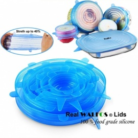 WALFOS Universal 100 Food Grade Real Silicon Stretch Lid Cover, Silicone Saran Food Wrap-Bowl Pot Pan for Kitchen