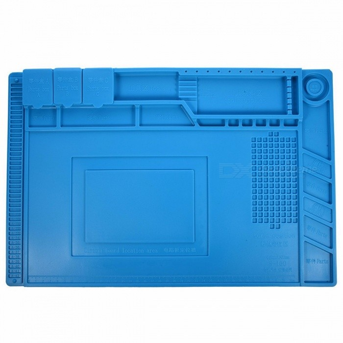 Buy S-160 45x30cm Heat Insulation Silicone Pad Desk Mat Maintenance Platform with Magnetic Section for BGA Soldering Repair Station blue with Bitcoin with Free Shipping on Gipsybee.com