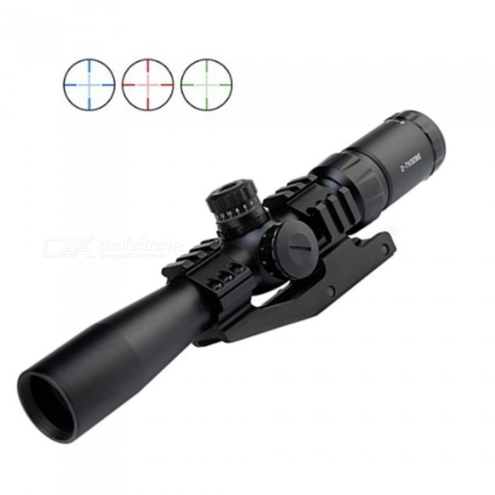 OJADE 2-7x32BE Red Green Blue Illuminated Mil Dot Rifle Scope with Flip-Open Cover & Sunshade Tube