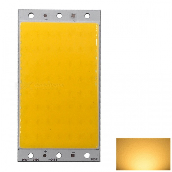 ZHAOYAO 94x50mm 20W DC 12-14V Dimmable COB LED Chip - Warm White LightLeds<br>Form  ColorYellow + Silver + Multi-ColoredColor BINWarm WhiteMaterialAluminumQuantity1 DX.PCM.Model.AttributeModel.UnitPower20 DX.PCM.Model.AttributeModel.UnitRate VoltageDC 12-14VWorking Current1.6 DX.PCM.Model.AttributeModel.UnitDimmableYesEmitter TypeCOBTotal Emitters1Beam Angle180 DX.PCM.Model.AttributeModel.UnitColor Temperature3000KActual Lumens0-2100 DX.PCM.Model.AttributeModel.UnitConnector TypeOthers,weldingOther Features2800-3500KPacking List1 x COB LED<br>