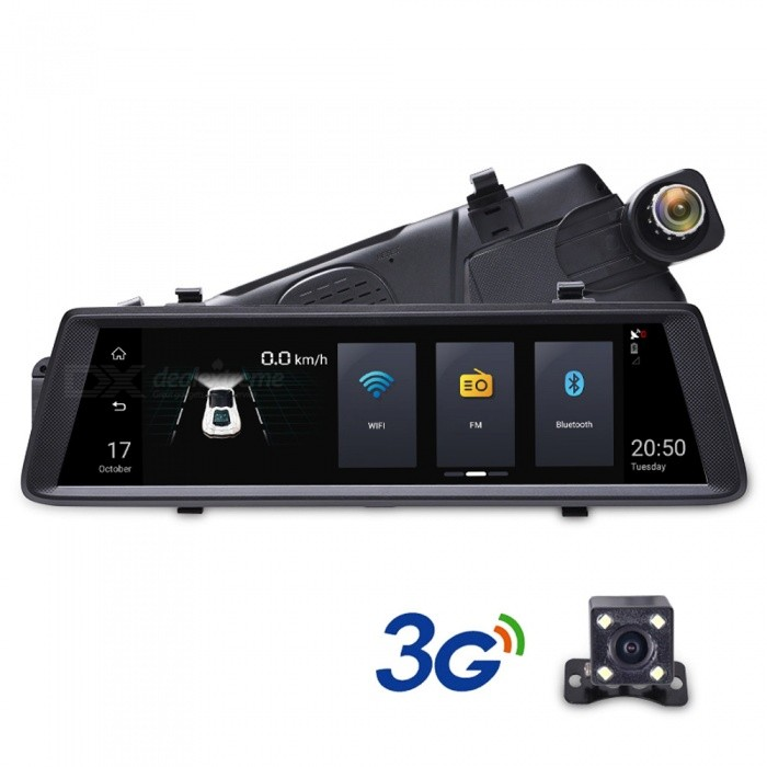 "Junsun 9.88"" Full Touch Screen 3G Android GPS Navigator FHD 1080P Car DVR Dashcam Rearview Mirror, Wi-Fi Streaming Media"