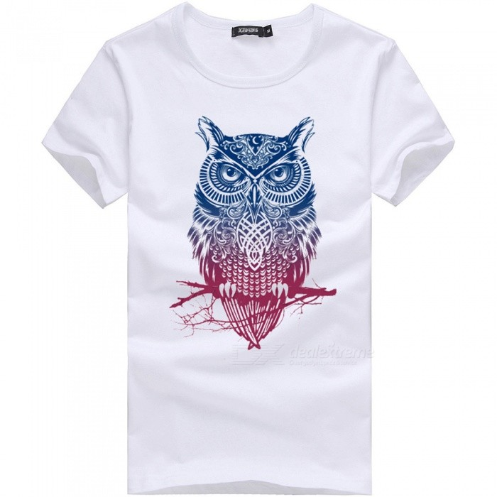 Buy 3D Color Owl Series Fashion Personality Casual Cotton Short-Sleeved T-Shirt for Men - White (M) with Litecoins with Free Shipping on Gipsybee.com