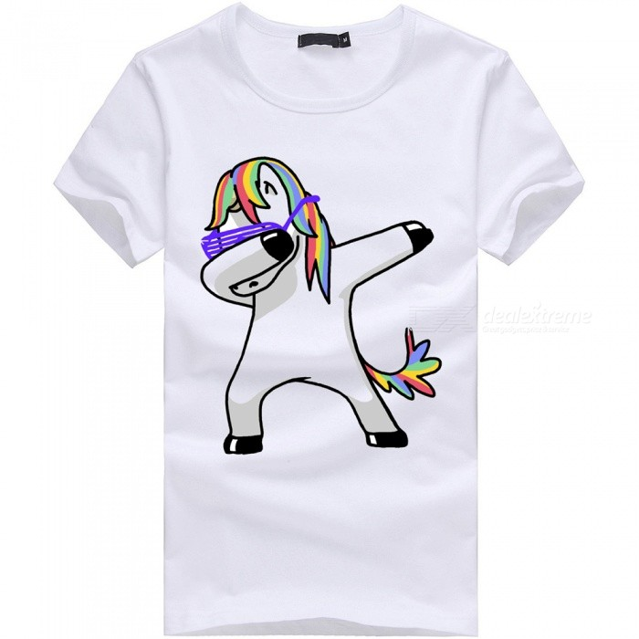 Buy 3D Unicorn No Angle Series Fashion Personality Casual Cotton Short-Sleeved T-Shirt for Men - White (3XL) with Litecoins with Free Shipping on Gipsybee.com