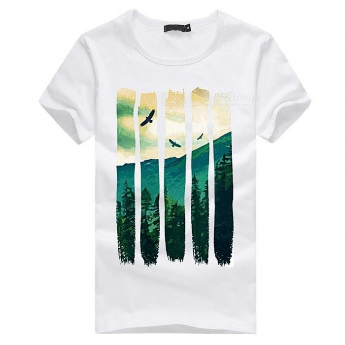Buy 3D Fresh And Cool Mountain Breeze Pattern Fashion Personality Casual Cotton Short-Sleeved T-shirt for Men - White (XL) with Litecoins with Free Shipping on Gipsybee.com