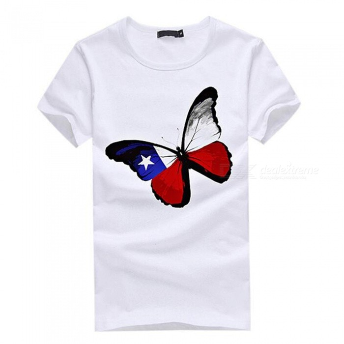 3D Butterfly Pattern Fashion Personality Casual Cotton Short-Sleeved T-Shirt for Men - White (3XL)Tees<br>Form  ColorWhiteSizeXXXLQuantity1 DX.PCM.Model.AttributeModel.UnitShade Of ColorWhiteMaterialCottonShoulder Width55 DX.PCM.Model.AttributeModel.UnitChest Girth110 DX.PCM.Model.AttributeModel.UnitSleeve Length21 DX.PCM.Model.AttributeModel.UnitTotal Length73 DX.PCM.Model.AttributeModel.UnitSuitable for Height183 DX.PCM.Model.AttributeModel.UnitPacking List1 x Short sleeve T-shirt<br>