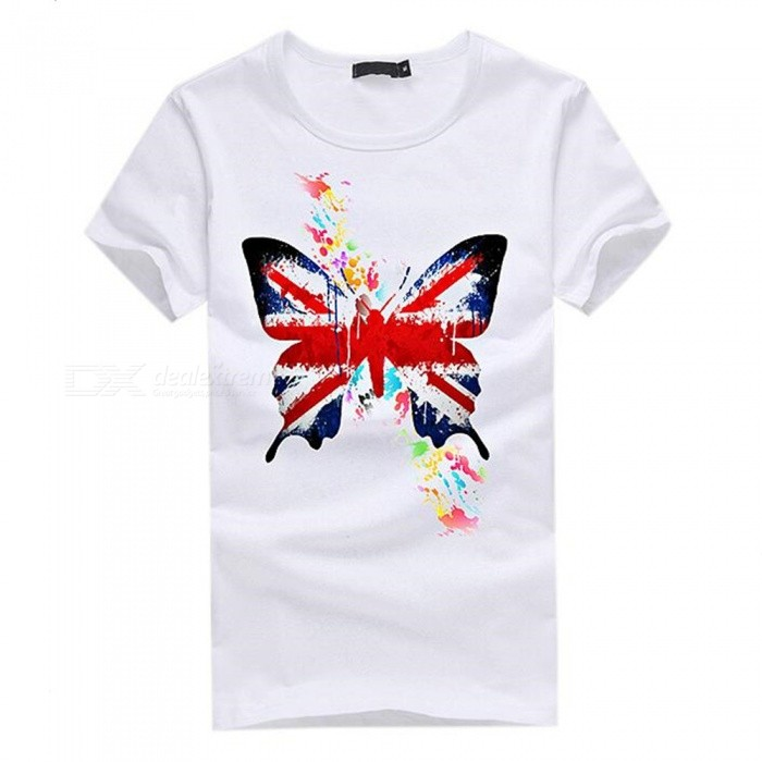 3D Butterfly Flag Pattern Fashion Personality Casual Cotton Short-Sleeved T-shirt for Men - White (L)Tees<br>Form  ColorWhiteSizeLQuantity1 DX.PCM.Model.AttributeModel.UnitShade Of ColorWhiteMaterialCottonShoulder Width48 DX.PCM.Model.AttributeModel.UnitChest Girth96 DX.PCM.Model.AttributeModel.UnitSleeve Length19.5 DX.PCM.Model.AttributeModel.UnitTotal Length67 DX.PCM.Model.AttributeModel.UnitSuitable for Height170 DX.PCM.Model.AttributeModel.UnitPacking List1 x Short sleeve T-shirt<br>