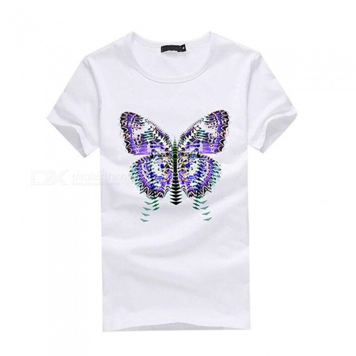 3D Gradient Butterfly Pattern Fashion Personality Casual Cotton Short-Sleeved T-Shirt for Men - White (M) for sale in Bitcoin, Litecoin, Ethereum, Bitcoin Cash with the best price and Free Shipping on Gipsybee.com