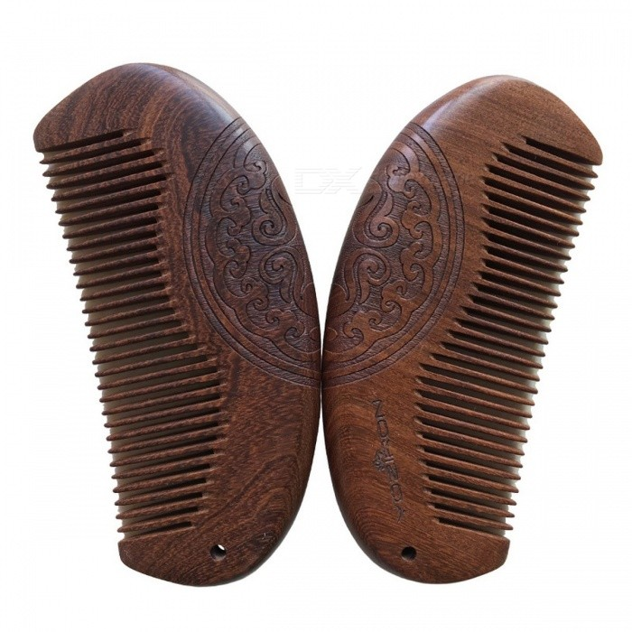 YOZIRON P016 Pocket-Size Natural Green Sandalwood Super Narrow Tooth Wooden Comb, Non-Static Lice Beard Comb for Hair Styling  Double Sides Carving