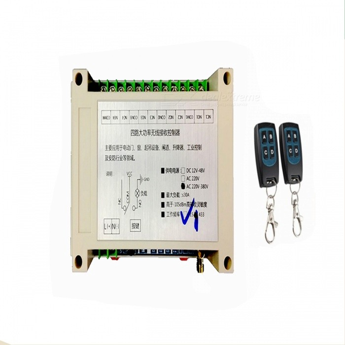 AC-220V-380V-Four-Road-Wireless-Remote-Control-Switch-Long-Distance-4-High-Power-Electric-Gate-Motor-Industrial-Controller