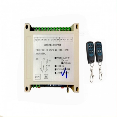 AC 220V-380V Four Road Wireless Remote Control Switch Long Distance 4 High Power Electric Gate Motor Industrial Controller