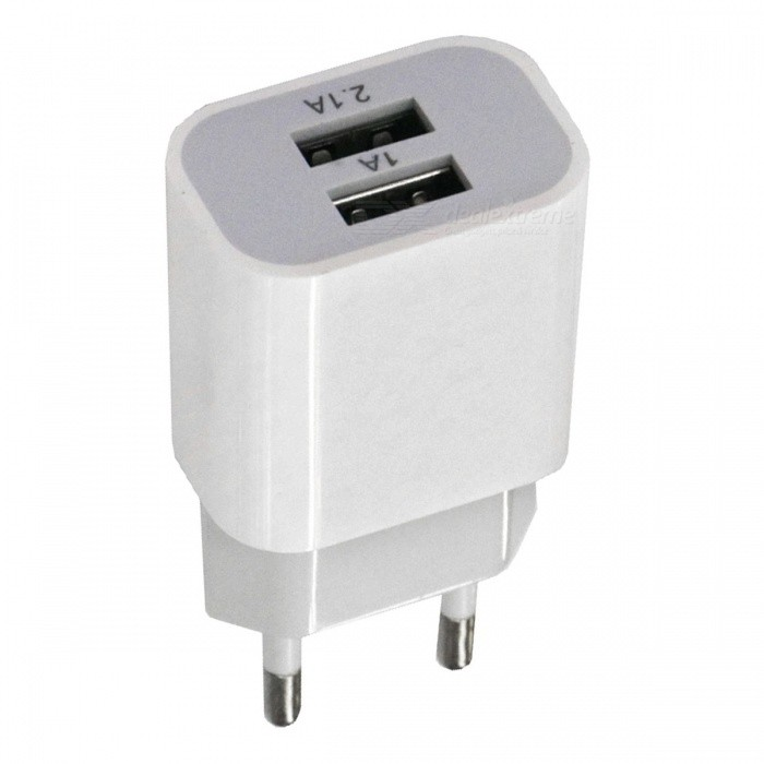 Portable 2A Dual USB Charging Head Power Adapter - White (EU Plug / AC100-240V)Plugs &amp; Sockets<br>Form  ColorEU PlugQuantity1 DX.PCM.Model.AttributeModel.UnitMaterialABSFireproof MaterialYesRate VoltageAC100-240VRated Current2 DX.PCM.Model.AttributeModel.UnitRated Power10 DX.PCM.Model.AttributeModel.UnitCompatible PlugOthers,USBGroundingNoOutlet2 DX.PCM.Model.AttributeModel.UnitWith Switch ControlNoSurge Protection FunctionYesLightning Protection FunctionYesWith FuseNoPower AdapterEU PlugForm  ColorEU PlugPacking List1 x Charging head<br>