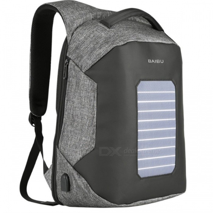 6.5W Solar Powered & Anti-Theft Backpack Sports Climbing Bag with Solar Panel, Bottle Laptop USB Charging Bag for Men Women Gray Color