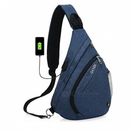 High Quality Large Capacity Sling Bag, Single Shoulder Chest Bag with USB Charging Port for Women and Men Blue