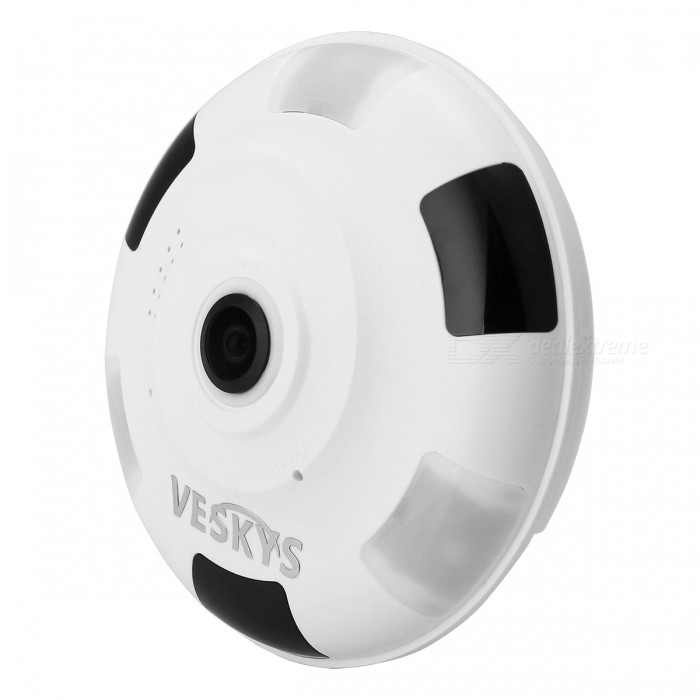VESKYS 1080P 2.0MP 360 Degree HD Full View IP Network Security Wi-Fi Camera w/ Infrared and White Light - EU PlugIP Cameras<br>Form  ColorWhiteImage Sensor Size1/2.5 inchesFocus1.44mmPower AdapterEU PlugModelN/AMaterialABSQuantity1 DX.PCM.Model.AttributeModel.UnitImage SensorOthers,CMOSLensOthers,1.44mmPixels2.0MPViewing AngleOthers,360 DX.PCM.Model.AttributeModel.UnitVideo Compressed FormatH.265Picture Resolution1920 x 1080pFrame Rate25FPSInput/OutputTwo-way voiceMinimum Illumination0.1 DX.PCM.Model.AttributeModel.UnitNight VisionYesIR-LED Quantity3Night Vision Distance10 DX.PCM.Model.AttributeModel.UnitWireless / WiFi802.11 b / g / nNetwork ProtocolTCP,IP,UDP,SMTP,uPnP,PPPoESupported SystemsOthers,NOSupported BrowserOthers,NOSIM Card SlotNoOnline Visitor4IP ModeDynamicMobile Phone PlatformAndroid,iOSFree DDNSYesIR-CUTYesBuilt-in Memory / RAMNoLocal MemoryYesMemory CardTF cardMax. Memory Supported128GBMotorNoSupported LanguagesEnglish,Simplified ChineseWater-proofNoPacking List1 x 360 Degree IP Camera 1 x USB Cable (300cm)1 x EU Plug power adapter (110~240V)1 x Camera Fixed chassis1 x Pack of installation accessories<br>