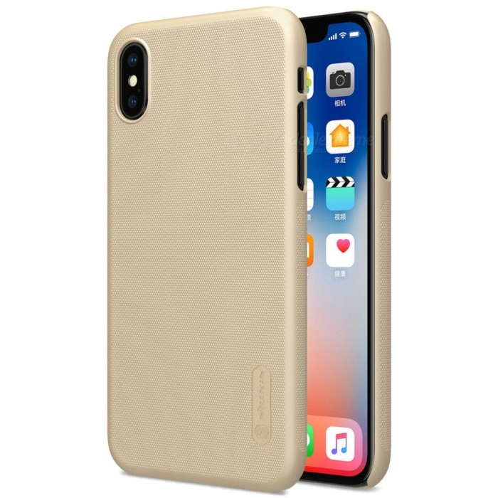 NILLKIN PC Hard Plastic Cover Case for IPHONE X - GoldPlastic Cases<br>Form  ColorGoldenModelNIPHX00HD06Quantity1 DX.PCM.Model.AttributeModel.UnitMaterialPlasticCompatible ModelsiPhone XDesignSolid Color,MatteStyleBack CasesPacking List1 x NILLKIN Super Frosted Shield1 x Screen Protector<br>