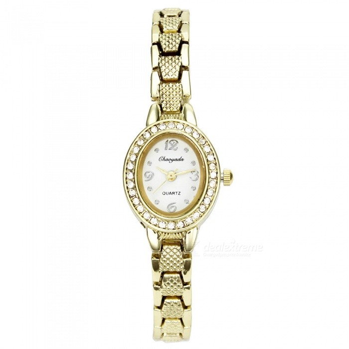 Chaoyada 1153 Rhinestone Bracelet Womens Quartz Watch - Golde + WhiteWomens Bracelet Watches<br>Form  ColorGolden + WhiteModel1153Quantity1 DX.PCM.Model.AttributeModel.UnitShade Of ColorGoldCasing MaterialElectroplating steelWristband MaterialElectroplating steelSuitable forAdultsGenderWomenStyleWrist WatchTypeFashion watchesDisplayAnalogDisplay Format12 hour formatMovementQuartzWater ResistantFor daily wear. Suitable for everyday use. Wearable while water is being splashed but not under any pressure.Dial Diameter2.3 DX.PCM.Model.AttributeModel.UnitDial Thickness0.8 DX.PCM.Model.AttributeModel.UnitBand Width0.8 DX.PCM.Model.AttributeModel.UnitWristband Length19.6 DX.PCM.Model.AttributeModel.UnitBattery1 x LR626 battery (included)Packing List1 x Watch<br>