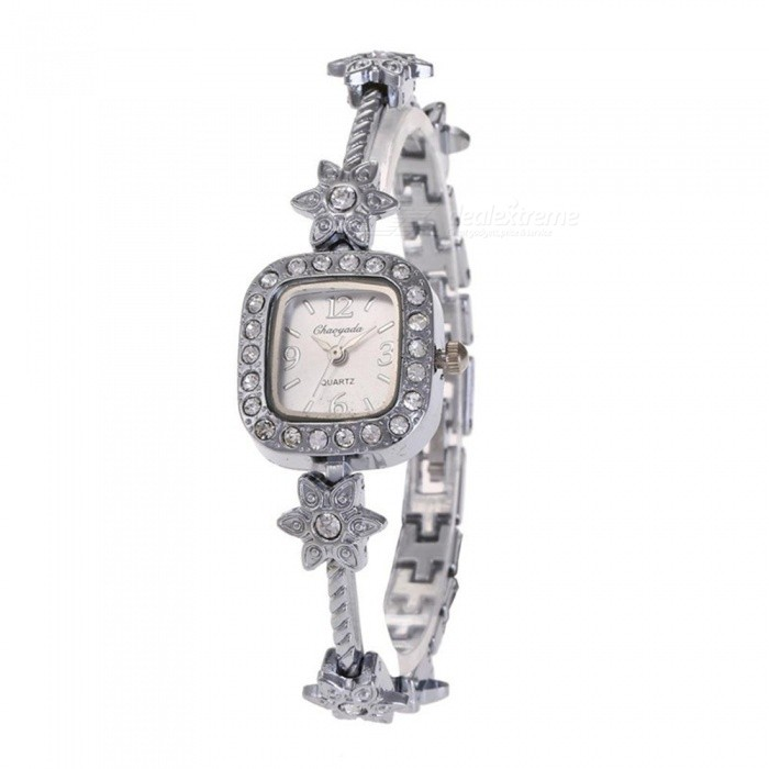 Chaoyada 1154 Rhinestone Bracelet Womens Quartz Watch - SilverWomens Bracelet Watches<br>Form  ColorSilverModel1154Quantity1 DX.PCM.Model.AttributeModel.UnitShade Of ColorSilverCasing MaterialElectroplating steelWristband MaterialElectroplating steelSuitable forAdultsGenderWomenStyleWrist WatchTypeFashion watchesDisplayAnalogDisplay Format12 hour formatMovementQuartzWater ResistantFor daily wear. Suitable for everyday use. Wearable while water is being splashed but not under any pressure.Dial Diameter2.3 DX.PCM.Model.AttributeModel.UnitDial Thickness0.8 DX.PCM.Model.AttributeModel.UnitBand Width0.7 DX.PCM.Model.AttributeModel.UnitWristband Length18.8 DX.PCM.Model.AttributeModel.UnitBattery1 x LR626 battery (included)Packing List1 x Watch<br>