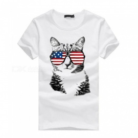 3D-Glasses-Cat-Pattern-Fashion-Casual-Cotton-Short-Sleeve-T-Shirt-for-Men