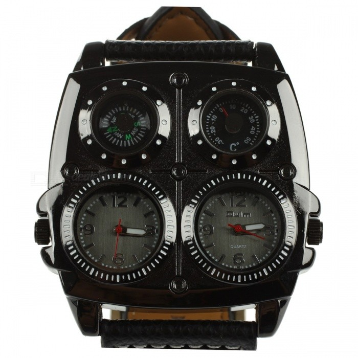 Buy Oulm Multi-Function 5cm Dial Men's Large Watch w/ Genuine Leather Strap, Dual Time Zones, Compass, Thermometer Functions Black with Litecoins with Free Shipping on Gipsybee.com