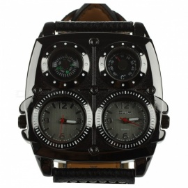 Oulm-Multi-Function-5cm-Dial-Mens-Large-Watch-w-Genuine-Leather-Strap-Dual-Time-Zones-Compass-Thermometer-Functions-Black