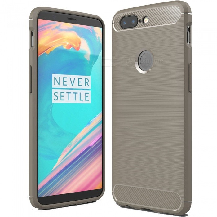 ASLING Protective Carbon Fiber TPU Soft Cover for OnePlus 5T - GreyTPU Cases<br>Form  ColorGreyModelASL-OnePlus 5TMaterialTPUQuantity1 DX.PCM.Model.AttributeModel.UnitShade Of ColorGrayCompatible ModelsOnePlus 5TPacking List1 x Protective Case<br>