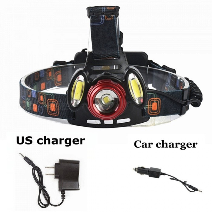 ZHAOYAO XM-L T6 COB Waterproof 3-LED 3-Mode Zooming Rechargeable Headlight with US Charger + Car ChargerHeadlamps<br>Form  ColorBlack + Red (US Charger)Quantity1 DX.PCM.Model.AttributeModel.UnitMaterialAluminum alloy + plasticsEmitter BrandCreeLED TypeXM-LEmitter BINT6Color BINWhiteNumber of Emitters3Working Voltage   3.7-7.4 DX.PCM.Model.AttributeModel.UnitPower Supply18650Current1.5 DX.PCM.Model.AttributeModel.UnitActual Lumens300-1200 DX.PCM.Model.AttributeModel.UnitRuntimeDepends on the battery quantities DX.PCM.Model.AttributeModel.UnitNumber of Modes3Mode ArrangementHi,Low,Fast StrobeMode MemoryNoSwitch TypeForward clickySwitch LocationHeadLensOthers,ResinReflectorNoBand Length20 DX.PCM.Model.AttributeModel.UnitCompatible Circumference40-80mcBeam Range50-150 DX.PCM.Model.AttributeModel.UnitPacking List1 x Headlight1 x US charger1 x Car charger<br>