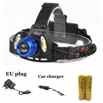 ZHAOYAO XM-L T6 COB Waterproof 3-LED 4-Mode Zooming Rechargeable Headlight with EU Charger + Car Charger + 2Pcs 18650 Batteries