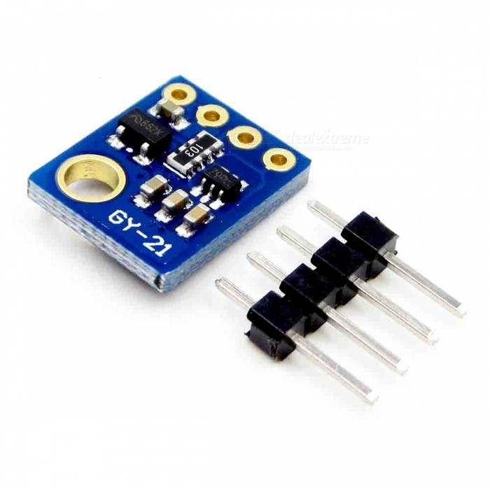Produino SHT21 HTU21 Digital Humidity Temperature Sensor ModuleSensors<br>Form  ColorBlueModelGY-21 SHT21Quantity1 DX.PCM.Model.AttributeModel.UnitMaterialPCBApplication* Homes, basements and HVAC systems for measuring humidity;<br>* People with physical conditions sensitive to humidity;<br>* Home ventilating, heating and air conditioning systems;<br>* Meteorology stations to predict or check weather temperatures;<br>* Gardens or greenhouses to check humidity and temperatures;Working Voltage   5 DX.PCM.Model.AttributeModel.UnitEnglish Manual / SpecNoDownload Link   NOPacking List1 x Module<br>