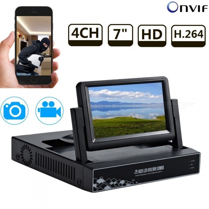 STRONGSHINE 4CH 720P/960P/1080P H.264 ONVIF HD P2P NVR with 7 LCD Screen Network Video Recorder - EU PlugNVR Cards &amp; Systems<br>Form  ColorBlackPower AdapterEU PlugForm  ColorBlackPower AdapterEU PlugModelST-NVR9400NM-S2MaterialMetal + plasticQuantity1 DX.PCM.Model.AttributeModel.UnitSystem ResourcesMulti-channel real-time recording synchronously,Multi-channel real-time playback,USB back upOperating SystemWindows 7,Android 3.0,Android 3.1,Android 3.2,Android 4.0,Linux,Windows 8,iOSRemote MonitoringNoPower AdaptorYesPower SupplyOthers,DC12V 3AMobile Phone PlatformAndroid,iOSWorking Temperature-20~50 DX.PCM.Model.AttributeModel.UnitWorking Humidity10%~90%Video StandardsH.264Decode FormatH.264Multi-mode Video InputWiredMotion DetectionYesAudio Compression FormatAACAudio Input4 channelsAudio  Output1 ChannelVideo Input4 channelsVideo Output4 channelsMonitor Quality4ch 1080/4ch 960P/4ch 720P  Real Time RecordingPlayback Quality1ch 720P or 960P realtime playbackEncode CapabilityH.264Decode CapabilityH.264Record ModeManual,Motion Detection,TimingVideo SearchTime,Date,Channel SearchStorageNoVideo StorageLocal HDD,NetworkBack up ModeNetwork backup,USB portable,HDDUSBUSB 2.0HDD PortSATAPacking List1 x NVR with 7 LCD screen1 x Power supply for NVR1 x Mouse for NVR 1 x User manual of NVR1 x Screw and other parts<br>