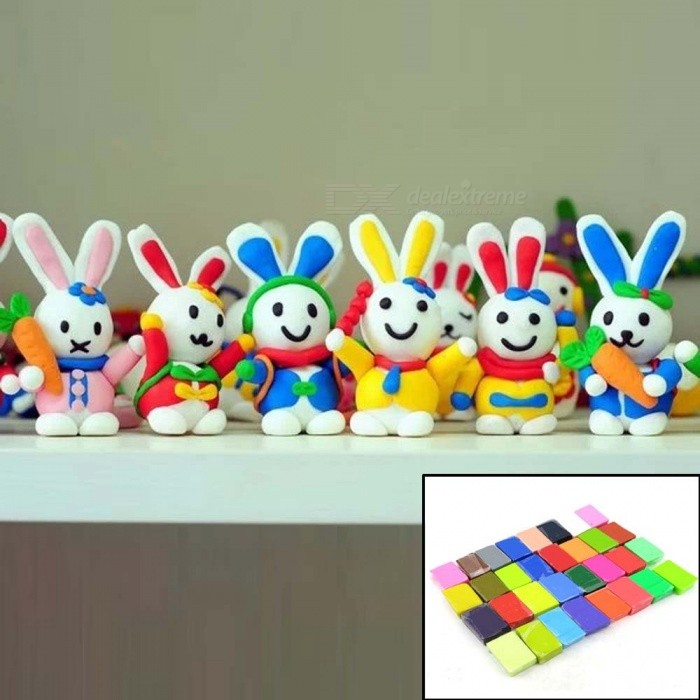 DIY Handmade 32 Colors Soft Fimo Clay Mud - Color (32 PCS)Other Toys<br>Form  ColorGreen + ColorfulForm  ColorColorMaterialFimo clayQuantity1 DX.PCM.Model.AttributeModel.UnitSuitable Age 13-24 months,3-4 years,5-7 years,8-11 years,12-15 years,Grown upsPacking List32 x Fimo clays<br>