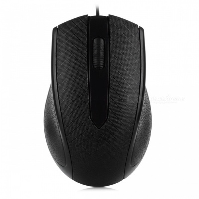FC-3009 LED USB Optical Wired Mouse for Laptop Computer Game - Black