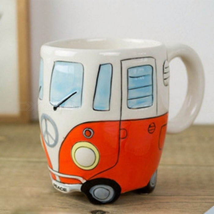 Buy Cute Cartoon Double Bus Mug Cup Hand Painting Retro Ceramic Cup Coffee Milk Tea Mug Drinkware Novetly Gift - Orange with Litecoins with Free Shipping on Gipsybee.com