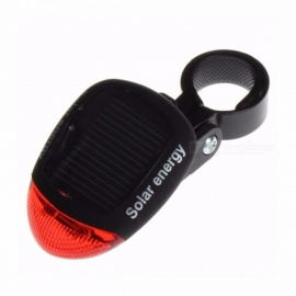 Solar Powered Bike Light LED Rear Flashing Tail Light for Bicycle Cycling Lamp Safety Warning Flashing Light Accessories Black