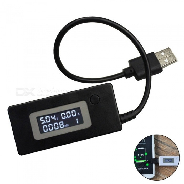 Buy LCD Voltmeter, USB Charger Capacity Current Voltage Detector Tester Meter - Black with Litecoins with Free Shipping on Gipsybee.com