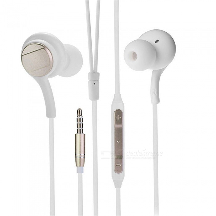 Stylish 3.5mm In-ear Stereo Earphones Music Headphones with Microphone - White + GoldenHeadphones<br>Form  ColorPlatinumBrandOthers,N/AMaterialABS + siliconeQuantity1 DX.PCM.Model.AttributeModel.UnitConnection3.5mm WiredBluetooth VersionNoCable Length123 DX.PCM.Model.AttributeModel.UnitHeadphone StyleEarbud,In-EarWaterproof LevelIPX2Applicable ProductsUniversalHeadphone FeaturesVolume Control,With Microphone,Lightweight,Game Headset,For Sports &amp; ExerciseSupport Memory CardNoSupport Apt-XNoPacking List1 x Earphones<br>