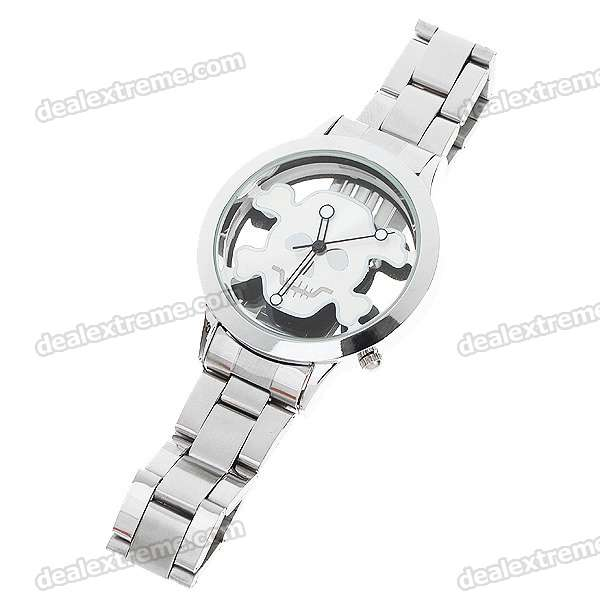 Buy Stainless Steel Wrist Watch with Skull Pattern - Silver White Pattern (1*377) with Litecoins with Free Shipping on Gipsybee.com