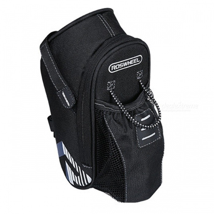 ROSWHEEL 131395 LEXUN Bike Riding Cycling Safety Reflector Tail Bag for Water Bottle and Small Items - Black