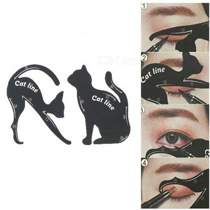 Buy DIY Women's Cat Line Eyeliner Stencils Pro Eye Makeup Tool Eye Template Shaper Model Easy to Use 2PCS/Set  Black with Litecoins with Free Shipping on Gipsybee.com