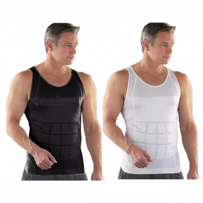 Buy Slimming Underwear Waist Cincher Corset, Men's Vest Body Slimming Tummy Belly Waist Slim Body Shapewear L/White with Litecoins with Free Shipping on Gipsybee.com