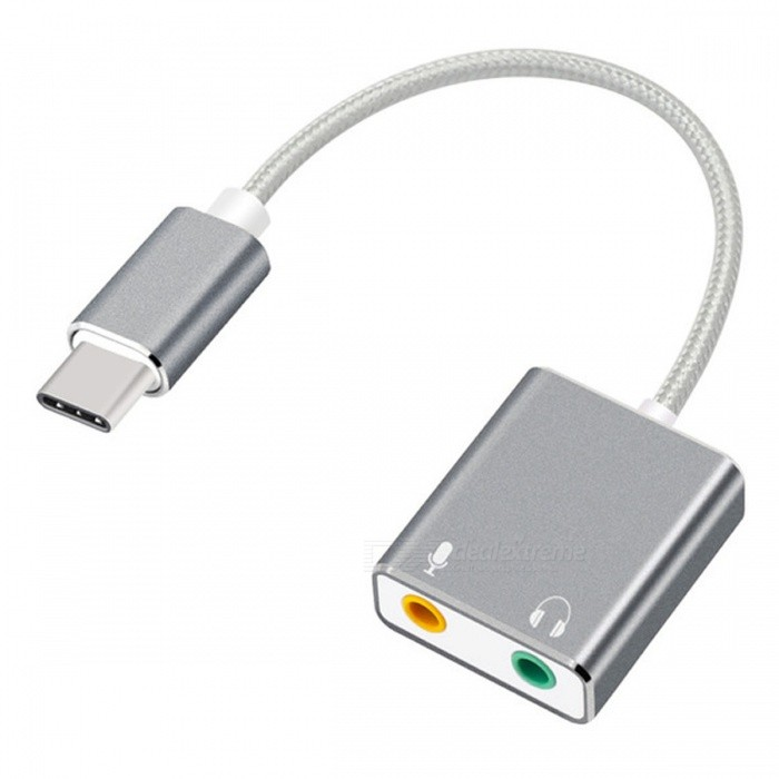 Cwxuan USB 3.1 Type-C to 3.5mm Audio Stereo 7.1 Independent 3D External Sound Card Adapter for MacbookLaptop/Tablet Cable&amp;Adapters<br>Form  ColorGreyQuantity1 DX.PCM.Model.AttributeModel.UnitShade Of ColorGrayMaterialAluminum AlloyInterfaceOthers,USB 3.1 Type-CPacking List1 x Sound card<br>